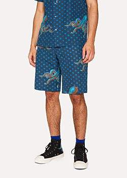 Paul Smith Men's Blue Mid-Length 'Octopus' Print Cotton-Linen Shorts