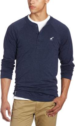 Lrg Men's Core Collection Long Sleeve Raglan Henley Shirt, Navy Blue Heather