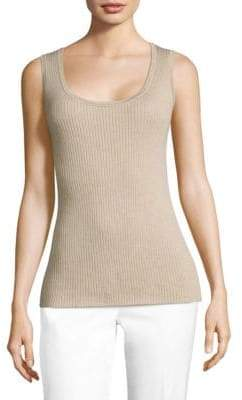 Lafayette 148 New York Modern Ribbed Lurex Detail Tank
