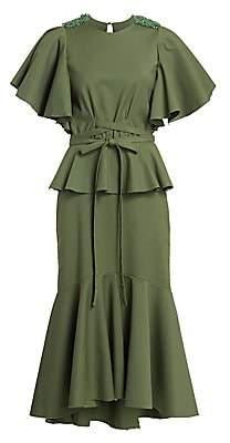 Johanna Ortiz Women's Follow The Drums Ruffled Peplum Tie-Waist Midi Dress