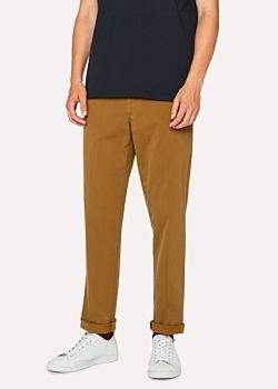 Men's Tapered-Fit Tan Stretch-Cotton Chinos