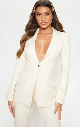 PrettyLittleThing Stone Structured Suit Woven Blazer