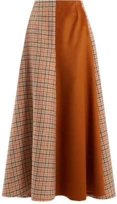 Golden Goose Cadria Contrast Panel Checked Skirt - Womens - Orange Multi