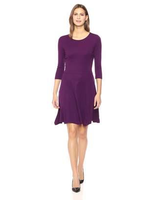 Lark & Ro Women's Three Quarter Sleeve Knit Fit and Flare Dress