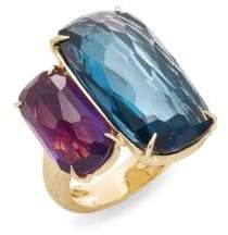 Marco Bicego Murano London Blue Topaz, Amethyst & 18K Yellow Gold Ring