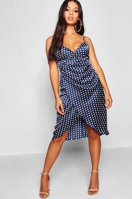boohoo Petite Satin Spot Print Wrap Midi Dress