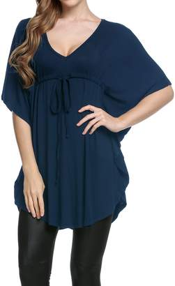 7f53b4c6d3707 Meaneor Women s Plus Size V Neck Empire Waist Batwing Sleeve Tunic Top  Shirt S