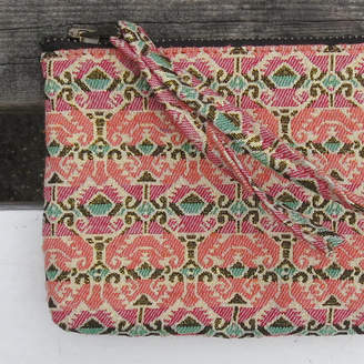 Aura Que Fairtrade Dhaka Gold Pink Pattern Fabric Zip Purse