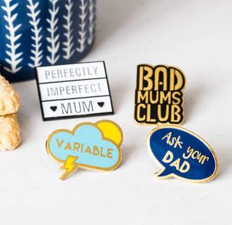 Helena Tyce Designs Set Of Four 'Mums Life' Enamel Pin Badges
