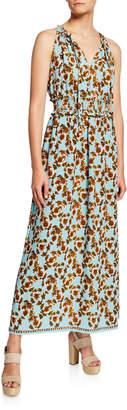 Max Studio Floral V-Neck Sleeveless Smocked-Waist Maxi Dress