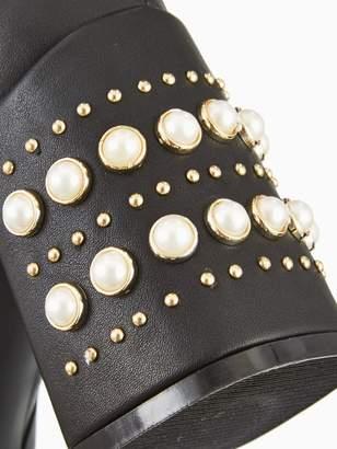 Very Fondant Pearl Heel High Ankle Boot Black