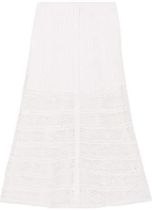 LoveShackFancy Bali Crocheted Lace-paneled Cotton Skirt - White