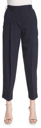 DKNY Cuffed High-Rise Pinstripe Ankle Pants, Classic Navy $355 thestylecure.com