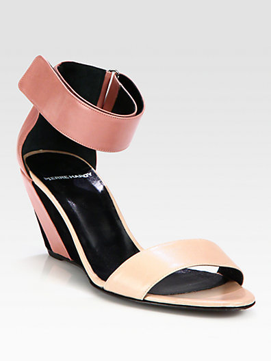 Pierre Hardy Leather & Suede Ankle Strap Wedge Sandals