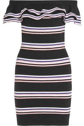 MSGM Off-The-Shoulder Striped Stretch Cotton-Blend Mini Dress