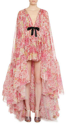 Giambattista Valli Floral-Print High-Low Ruffled Train-Back Gown