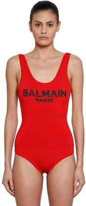 Balmain Logo Intarsia Knit Bodysuit