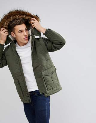 Hollister All Weather Parka Jacket Faux Fur Hood in Olive