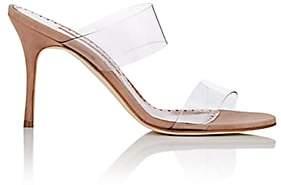 Manolo Blahnik Women's Scolto PVC & Suede Mules - Pink Suede Clpin47