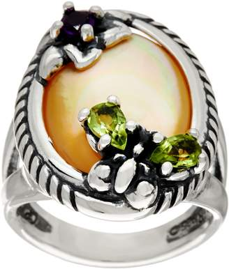 Mother of Pearl Carolyn Pollack Sterling Silver Golden Butterfly Ring