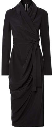 Rick Owens Draped Silk Crepe De Chine Wrap Dress - Black