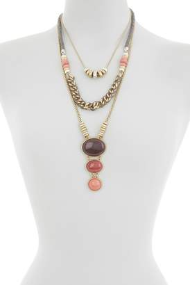 Lucky Brand Berry Stone Layered Statement Necklace