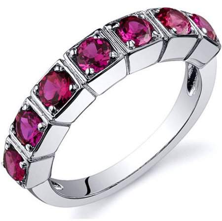 Oravo 1.75 Carat T.G.W. Created Ruby Rhodium-Plated Sterling Silver Engagement Ring