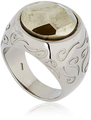 ara Engraved Ring With Pyrite