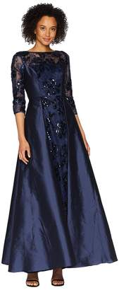 Adrianna Papell Long Sleeve Lace Front Gown with Taffeta Overskirt Women's Dress
