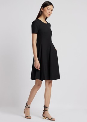 Emporio Armani Dress With Circle Skirt In Fresh Wool