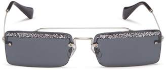 Miu Miu 'Société' glitter beaded trim metal square rimless sunglasses