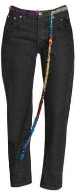 Loewe Embroidered Knot Trim Cropped Jeans