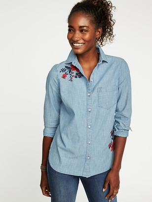 Classic Embroidered Chambray Shirt for Women $29.99 thestylecure.com