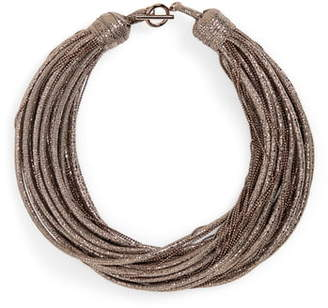 Brunello Cucinelli Monili & Leather Multistrand Choker Necklace