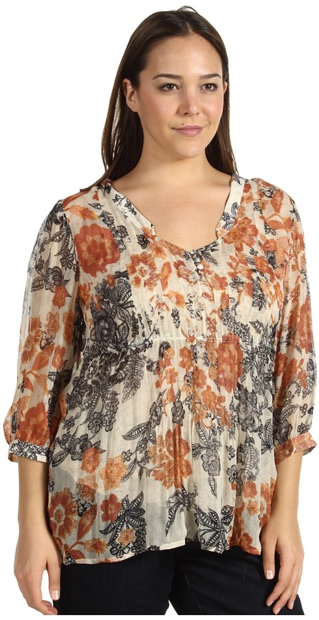 Lucky Brand Plus Size Talitha Floral Blouse (Natural Multi) - Apparel