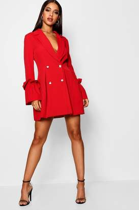 boohoo Allana Ruffle Flared Sleeve Blazer Dress