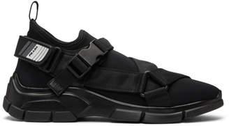 Prada Black Neoprene Buckled Wedge Sneakers