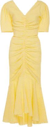 STAUD Panier Ruched Gingham Cotton-Blend Midi Dress Size: 2
