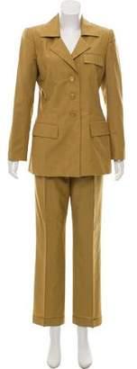 Oscar de la Renta Notch-Lapel Straight-Leg Pantsuit