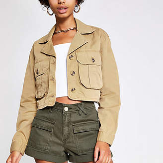 River Island Beige cropped utility jacket