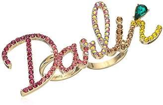 Betsey Johnson Womens Granny Chic Darlin Double Finger Ring