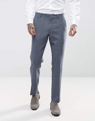 Asos DESIGN Wedding Slim Suit PANTS In 100% Wool Blue Houndstooth