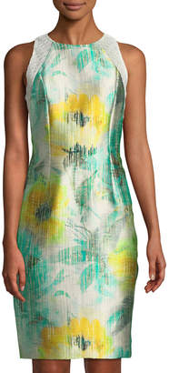 Carmen Marc Valvo Lace-Trimmed Floral Satin-Twill Dress