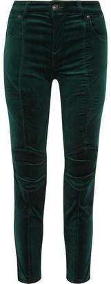 Pierre Balmain Stretch Cotton-blend Velvet Skinny Pants - Emerald