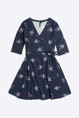 Animal Womens Swirl Jersey Wrap Dress - Blue