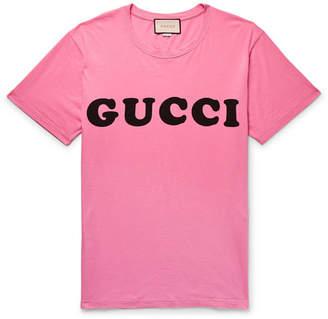 Gucci Logo-print Cotton-jersey T-shirt - Pink
