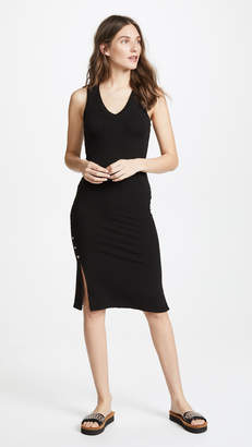 Monrow Side Slit V Neck Dress