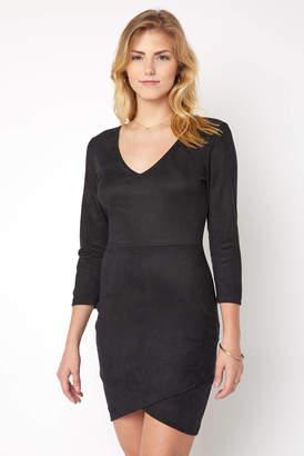 Abbeline Faux Suede Long Sleeve Bodycon Dress