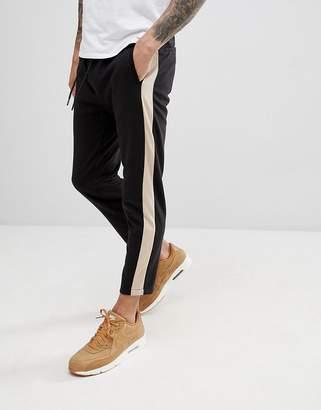 Bershka Side Stripe Joggers In Black