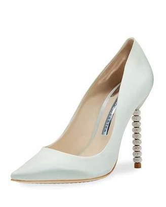 Sophia Webster Coco Satin Crystal-Heel Bridal Pump, Ice Blue $540 thestylecure.com